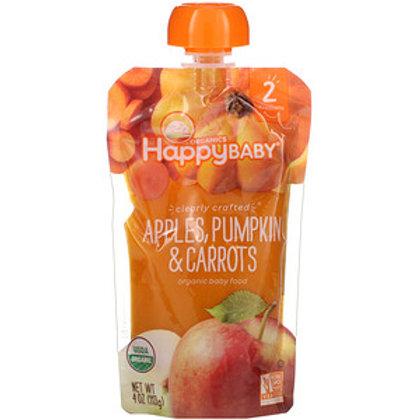 Happy Baby Organic Stage 2 Baby Food - Apples, Pumpkin & Carrots