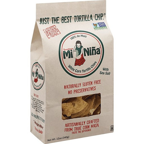 Mi Nina Tortilla Chips, White Corn, With Sea Salt
