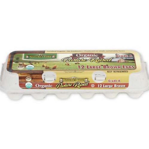 Organic Large Brown Eggs - Pasture raised, One Dozen