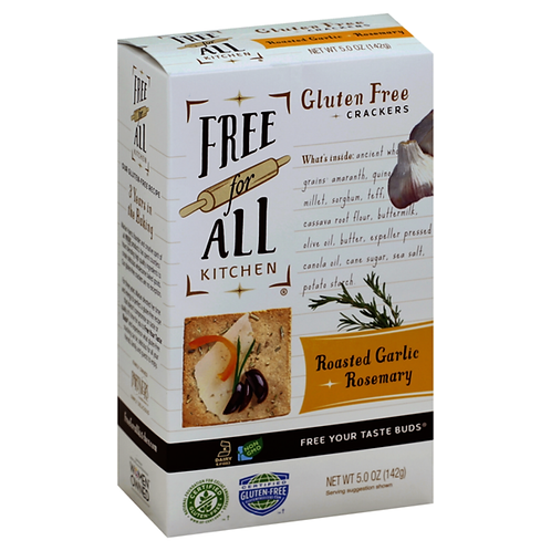 Free For All Kitchen Crackers, Gluten Free, Roasted Garlic + Rosemary
