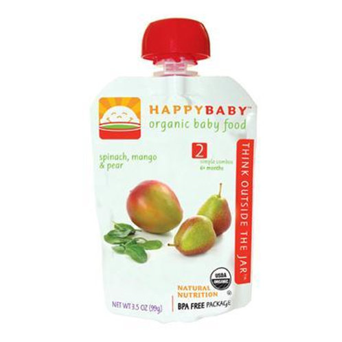Happy Baby Organic Stage 2 Pouch Foods Spinach, Mango & Pear