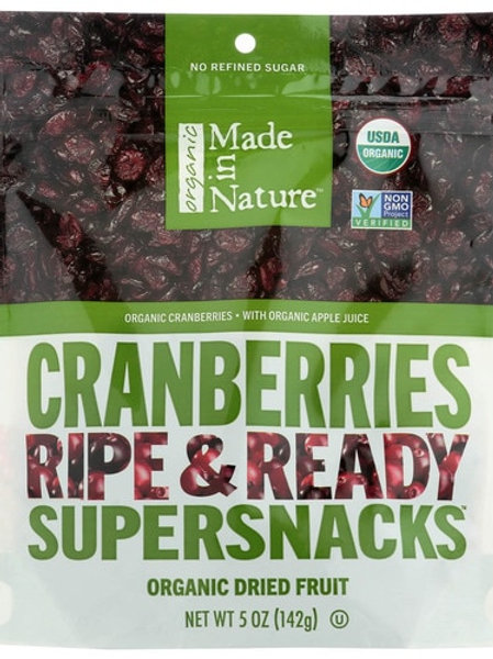 Made in Nature, Organic Dried Cranberries, Ripe & Ready Supersnacks, 5 oz