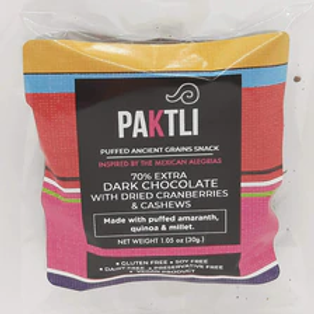 Paktli Puffed Ancient Grain w/Dried Cranberry and Cashews 1.05 oz