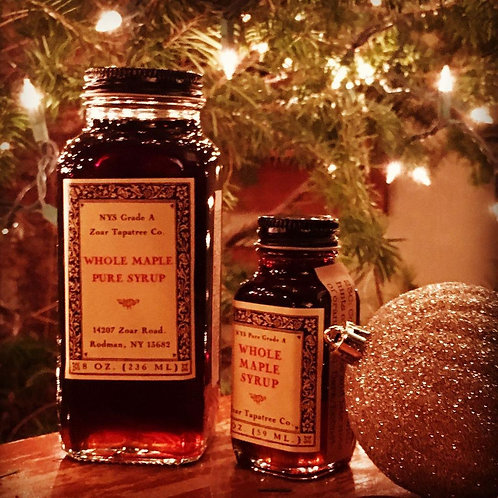 Zoar Tapatree N.Y.S. Grade A Whole Maple Pure Syrup 1/2 pint