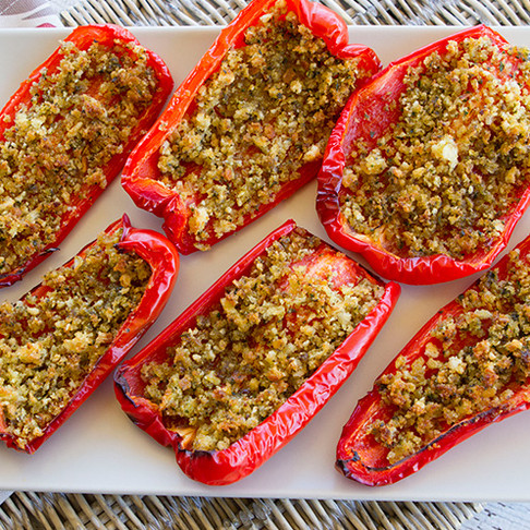 Anchovy Crumb Stuffed Peppers