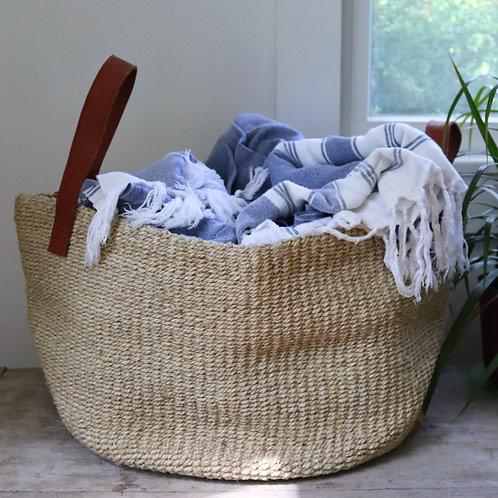 Dharma Door - Jute Basket w/ Leather handles