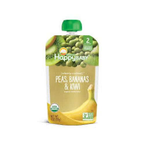 Happy Baby Organic Stage 2 Baby Food - Peas, Banana, Kiwi
