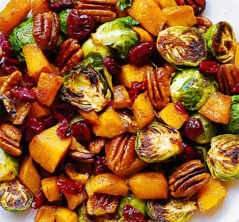 Roasted Brussels Sprouts with Cinnamon Butternut Squash, Pecans & Cranberries