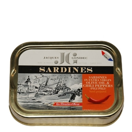 Gonidec Sardines in Organic Extra Virgin Olive Oil with Chili Peppers