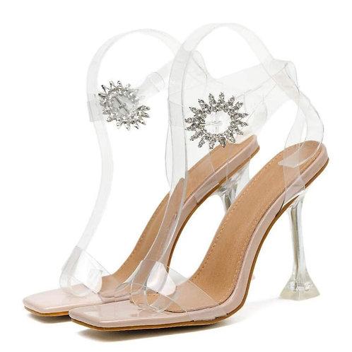 Sandale nude cu accesoriu argintiu și toc transparent Debrah