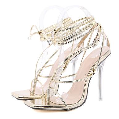 Sandale aurii cu toc stiletto transparent Goddess