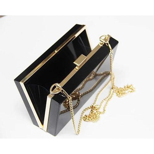 Clutch fashion negru cu lanț auriu Athena