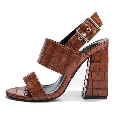 Sandale cu catarame și toc gros statement Mocha