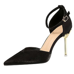 Pantofi satin negri cu toc floare Alma
