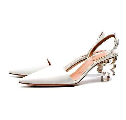 Sandale mireasă din piele cu toc deosebit Bianca