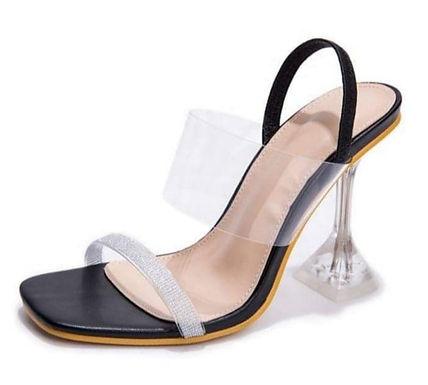 Sandale negre cu toc transparent Cataleya Noir