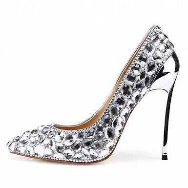 Pantofi stiletto din piele cu pietre Perla