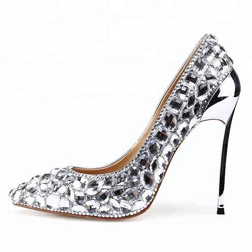 Pantofi mireasă stiletto din piele cu strasuri Perla
