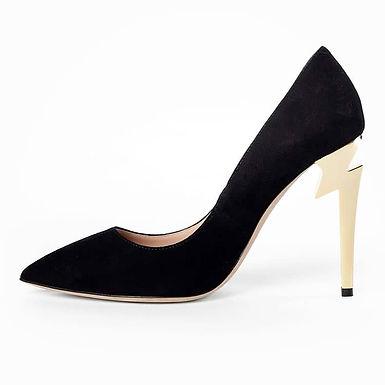 Pantofi piele întoarsă toc model fulger negri Storm
