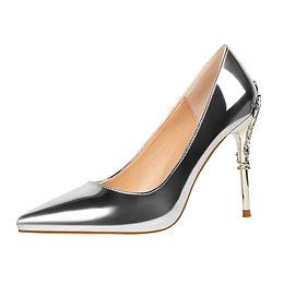 Pantofi argintii cu toc dantelat Bella