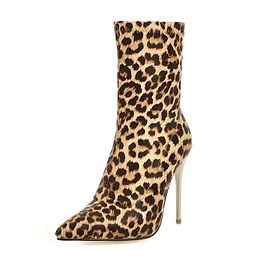 Botine leopard cu toc stiletto auriu Aliyah