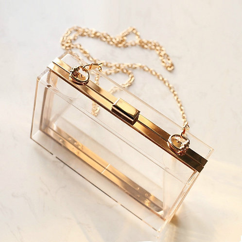 Clutch fashion transparent cu lanț auriu Athena