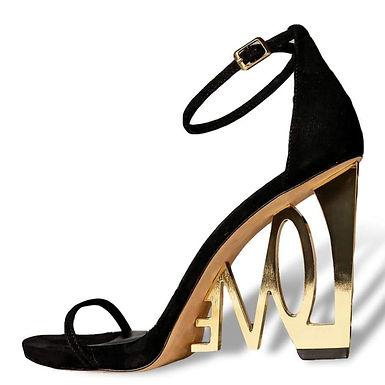 Sandale negre din piele întoarsă cu toc statement LOVE