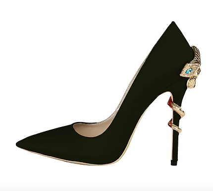 Pantofi stiletto piele satin cu toc șarpe Ivy Noir