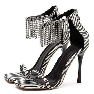 Sandale zebră cu accesorii argintii și toc stiletto Khloé