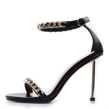 Sandale negre cu toc cui statement Tatiana
