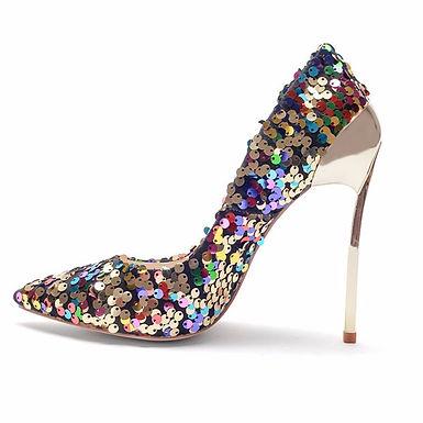 Pantofi stiletto din piele cu strasuri Victoria