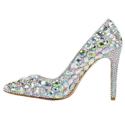 Pantofi stiletto din piele cu pietre Cinderella