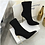 Thumbnail: Botine negre cu toc stiletto auriu Aliyah
