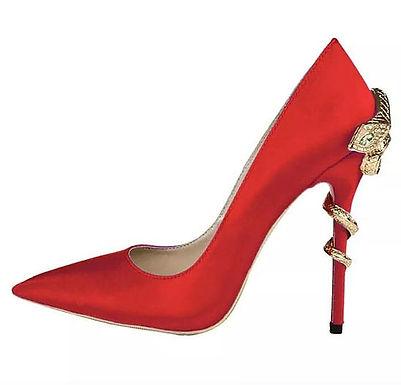 Pantofi stiletto piele satin cu toc șarpe Ivy Red