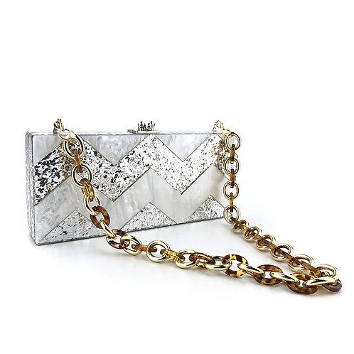 Clutch fashion silver cu lanț animal print Sophie
