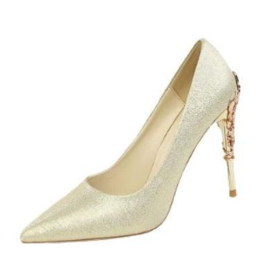 Pantofi auriu metalizat cu toc dantelat Bella