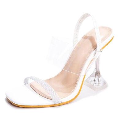 Sandale albe cu toc transparent Cataleya