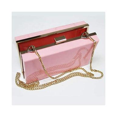 Clutch fashion roz pudrat cu lanț auriu Athena