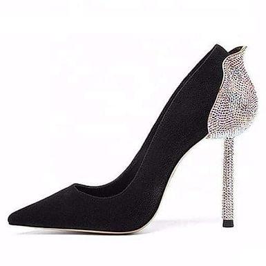 Pantofi stiletto din piele întoarsă negri Kitana