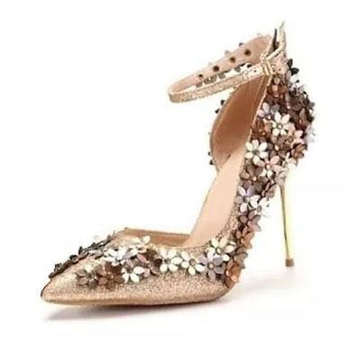 Pantofi toc auriu model floral Medeea