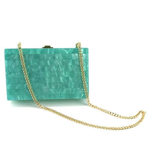 Clutch fashion verde smarald cu lanț auriu Mohito