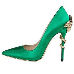 Pantofi stiletto piele satin cu toc șarpe Ivy