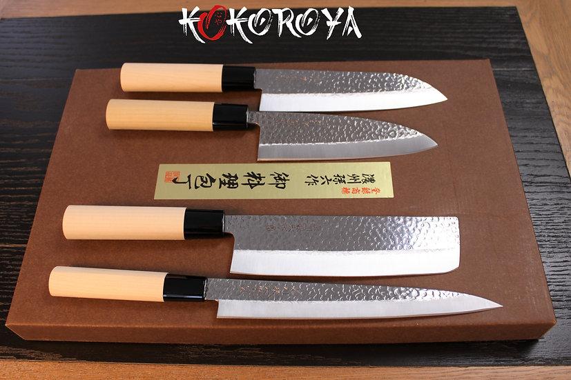Set 4 couteaux bois de magnolia