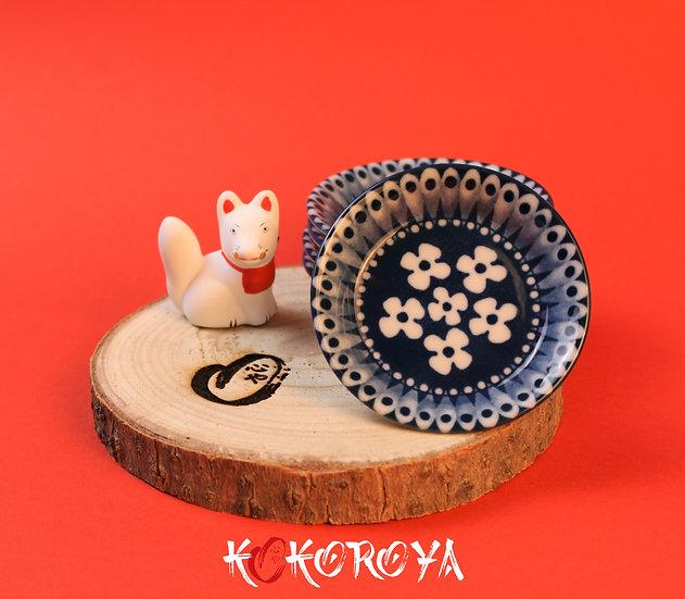 Coupelle céramique fleurs bleues