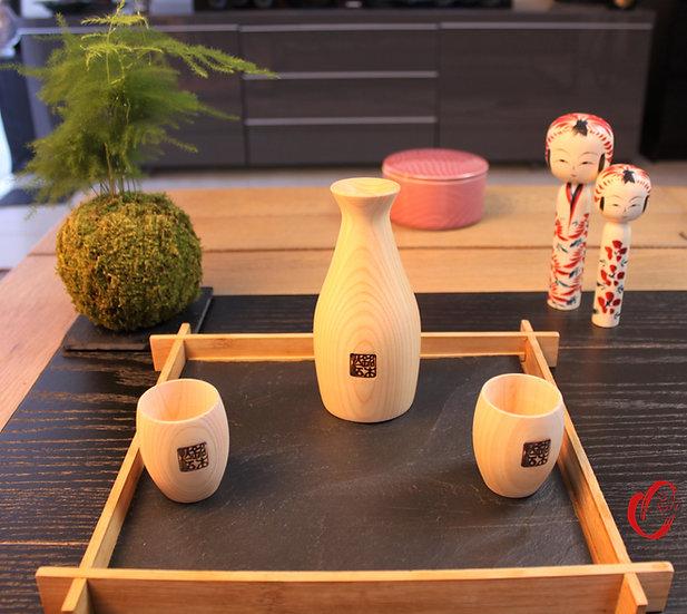 Set à saké en bois de cyprès