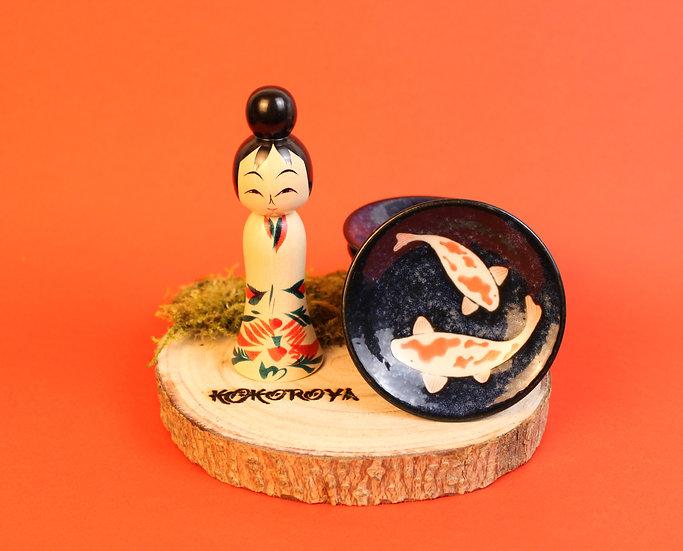 Coupelle céramique carpes koi