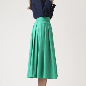 Pleated Green Skirt