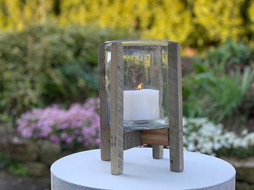 "Windlicht ""Glas in Holzgestell"" (ohne Kerze)"