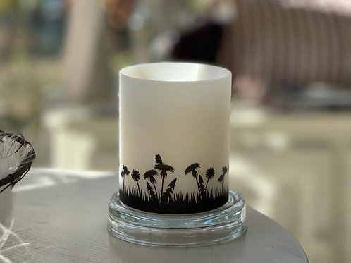 Blumenwiese, Konturenschnitt in schwarz