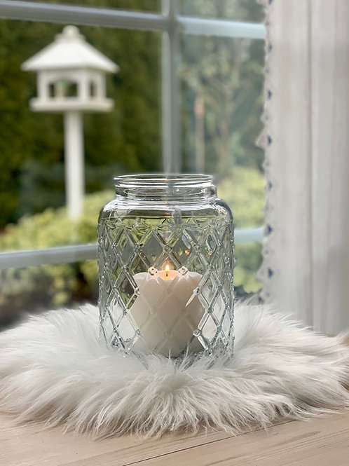Glas mit Rautenmuster, Vase oder Windlicht (ohne Kerze)